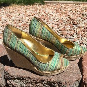 Nine West Willow Peep Toe Striped Espadrille Wedge